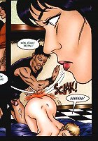 Nice lady gets fucked by bartender and his pal in bar. This is a must for every bondage/bdsm comix lover.